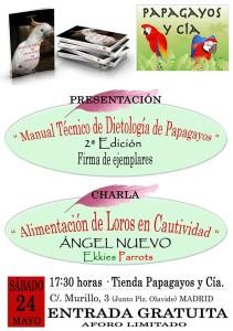 """Charla sobre alimentación de loros y firma del libro """"Manual Técnico de dietología de papagayos"""""""
